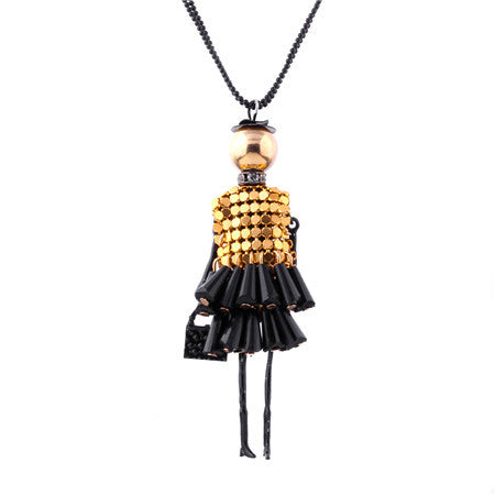 doll charm choker long necklace & pendant for women