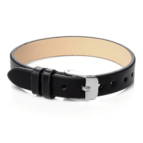 punk style genuine leather cuff bracelet for men
