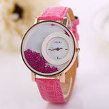 luxury rhinestone leather wrist band watch for women