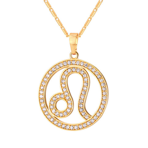zircon pave zodiac constellations necklace & pendant for women