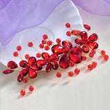 trendy red flower simulated pearl hair pin for women