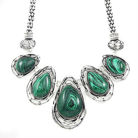 antique silver chain big malachite stone pendant necklace