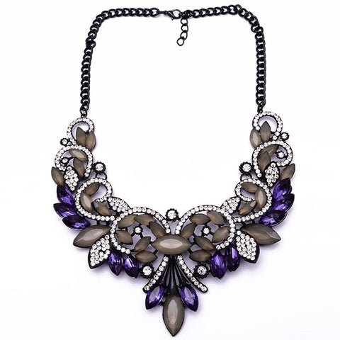 vintage glass flower shape tassel statement necklace for women