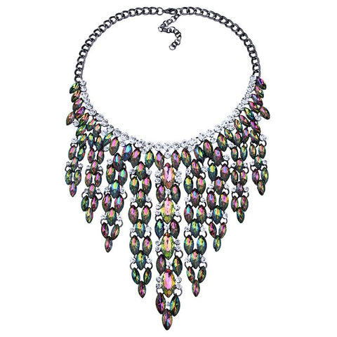 luxury multicolor long glass tassel statement necklace for women