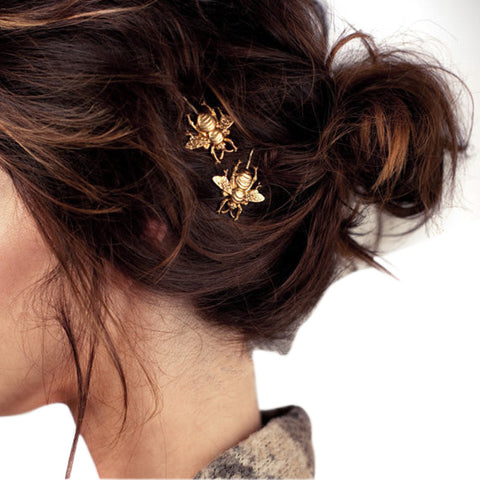 exquisite 2pcs gold color bee side hair clip for women