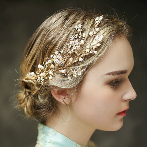exquisite flower pearl gold color headband hair jewelry