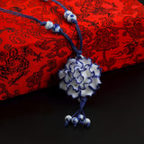 traditional ceramic flower pendant long sweater chain necklace