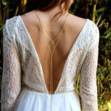 golden elegant crystal crossover back chain body necklace