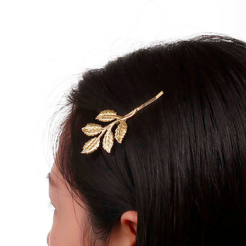 trendy gold color leaf shaped hair clip for woman