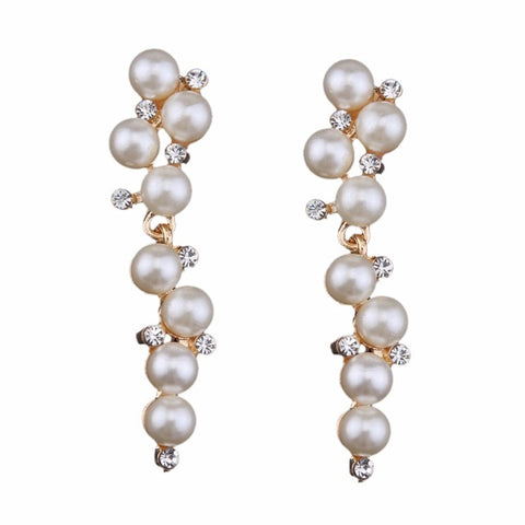 luxury simulated pearl long drop earrings for women