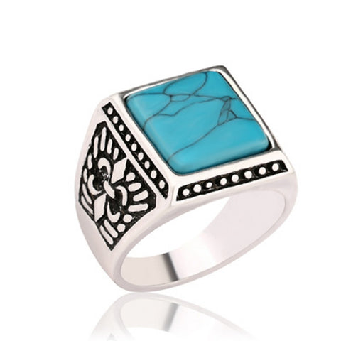 antique silver square stone signet ring for men