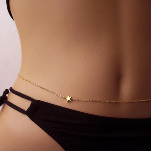 simple golden star waist belly chain body jewelry for women