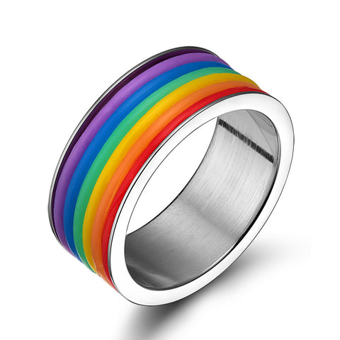 stainless steel gay pride rainbow ring