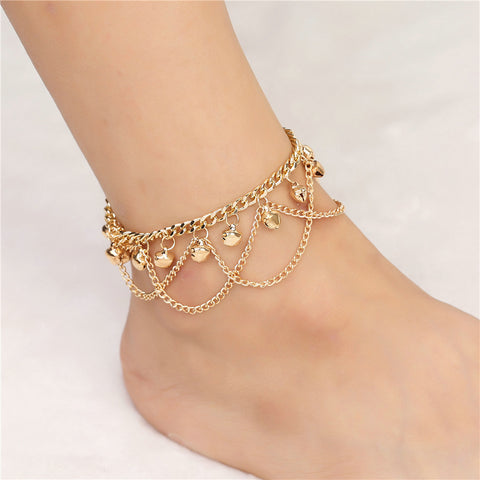 bohemian golden chain sound bells tassel anklet for women