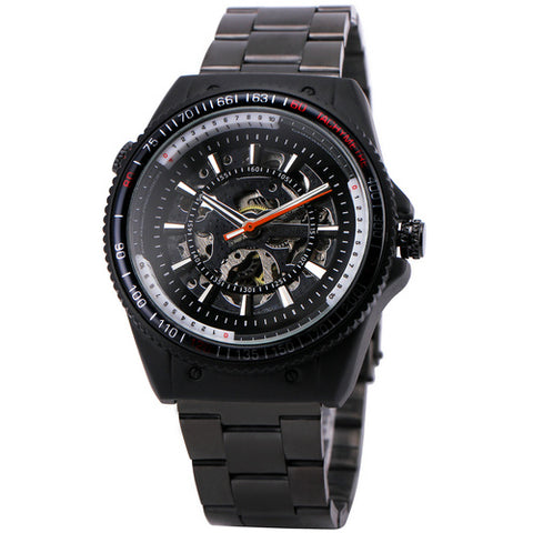 sport automatic mechanical black stainless steel watch for men