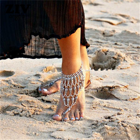 antique silver color chain anklet for women