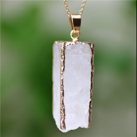 big natural stone pendant necklace