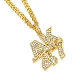 gold color AK47 submachine gun rhinestone pendant necklace