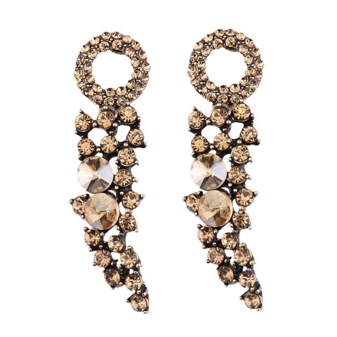 trendy long crystal tassel drop earrings for women