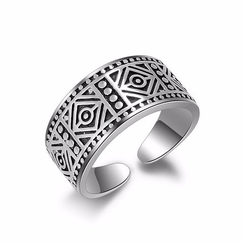 antique silver color pattern open ring