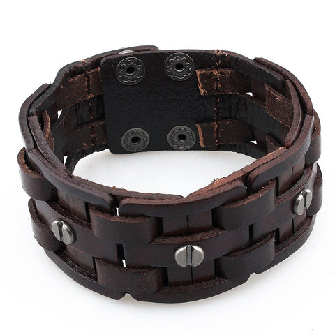 brown unisex leather cuff bracelet