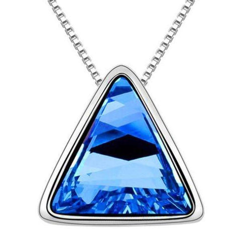 vintage big colorful glass triangle pendant chain necklace