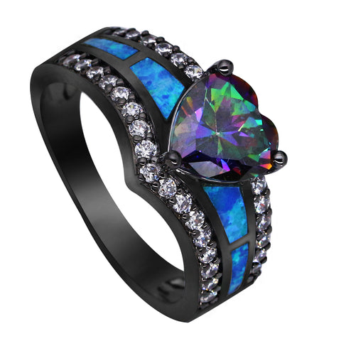 black plated rainbow blue opal heart ring for women