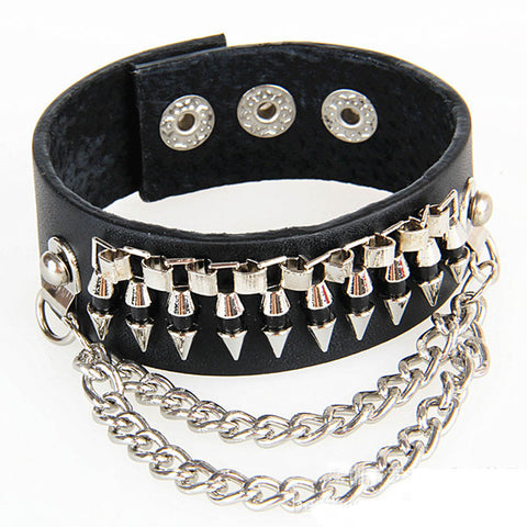 gothic bullet shape chain link leather bracelet bangle