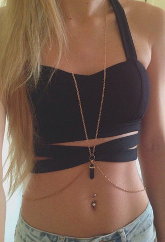 simple waist belly chain with crystal charm body necklace