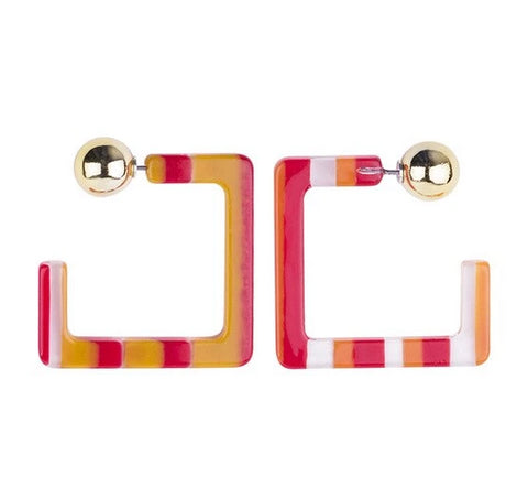 trendy geometric design colorful resin stud earrings for women