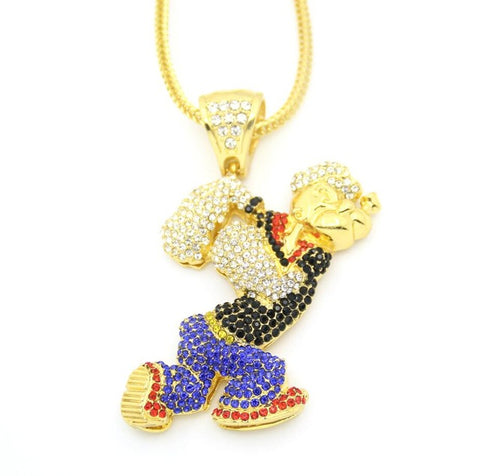 iced out large popeye cartoon crystal pendant necklace