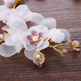 romantic handmade golden flower pearl hair band for women