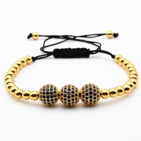 gold color and micro pave black beads bracelet - very-popular-jewelry.com
