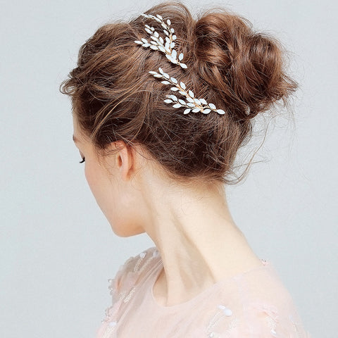 elegant simulated pearl branch shaped hair comb set for women
