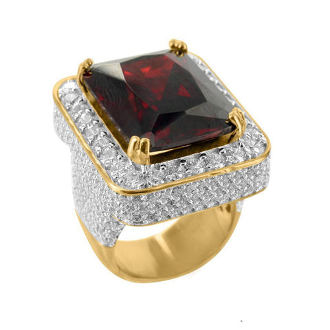 hip hop style red big stone gold color micro pave ring