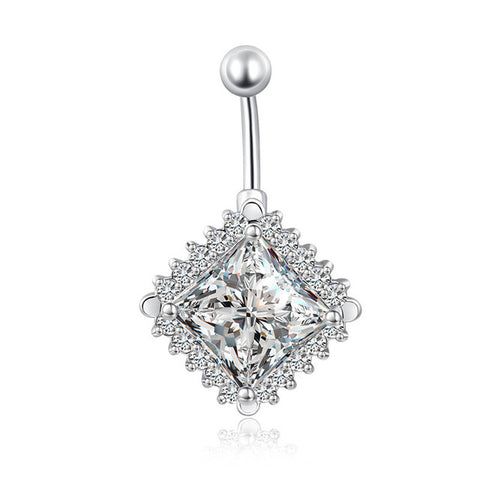 medical stainless steel square cz belly button ring