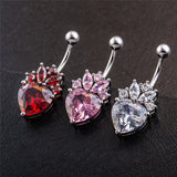 heart shaped zircon surgical steel belly button ring