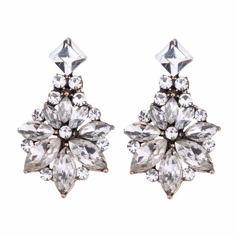 classic style glass flower shape stud earrings for women
