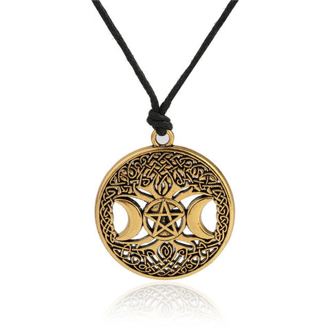 triple moon goddess wicca pendant necklace for women