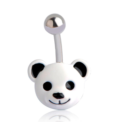 enamel panda bear navel belly button ring for women