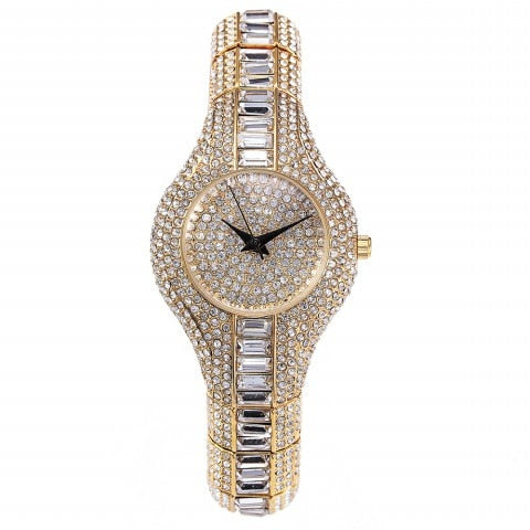 luxury full crystal paved quartz wrist watch for women