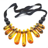 big handwoven resin beads choker necklace for women