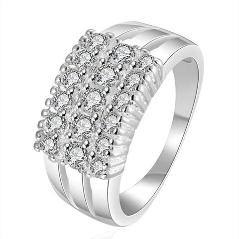 luxury silver plated multi cz stone ring for women
