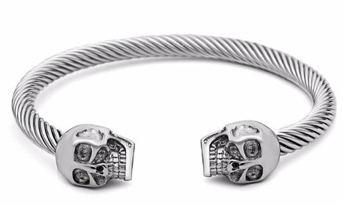punk skull silver tone titanium steel open cuff bracelet for men