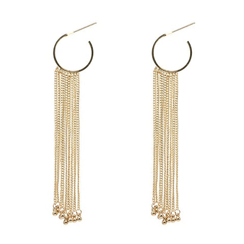 elegant golden chain long tassel drop earrings for women