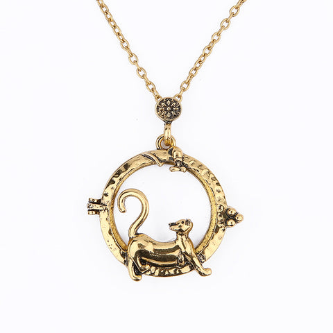 cute magnifying glass cat shape pendant necklace for women