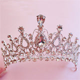 silver plated crystal rhinestone tiara crown bridal hair jewelry