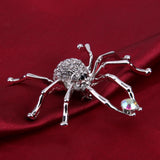 trendy crystal spider shape enamel brooch pin for women