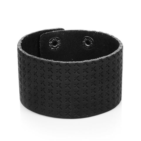 punk wide cuff braided cross genuine leather bracelet
