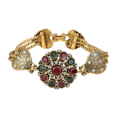 red resin antique gold color bangle bracelet for women